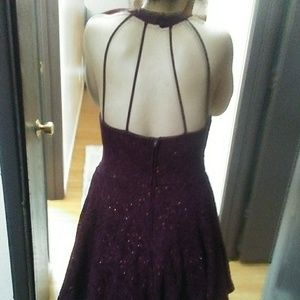 Maroon sequent Lacey prom dress